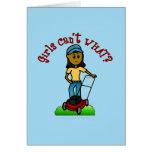 Dark Lawn Care Girl Greeting Card