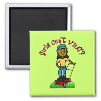 Dark Lawn Care Girl Magnets