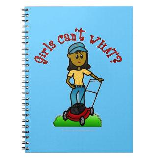 Dark Lawn Care Girl Notebook