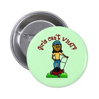 Dark Lawn Care Girl Pinback Button