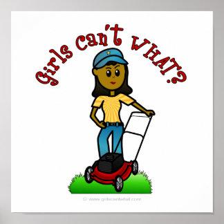Dark Lawn Care Girl Print