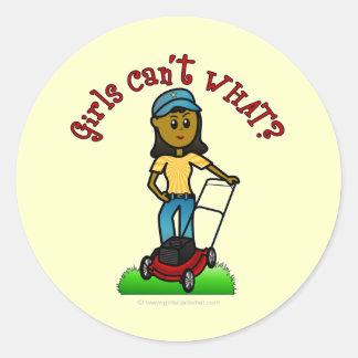 Dark Lawn Care Girl Round Stickers