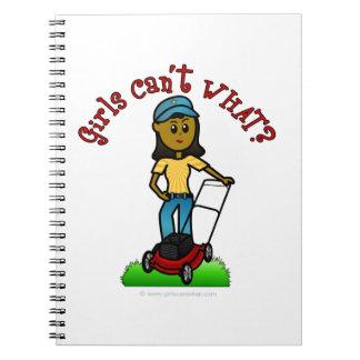 Dark Lawn Care Girl Spiral Notebook