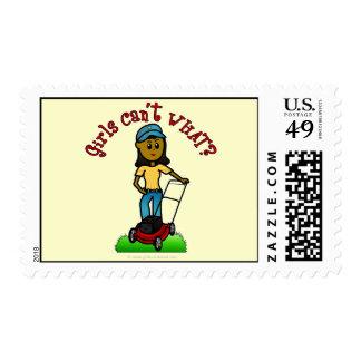 Dark Lawn Care Girl Stamp