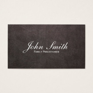 Dark Leather Family Practitioner Business Card