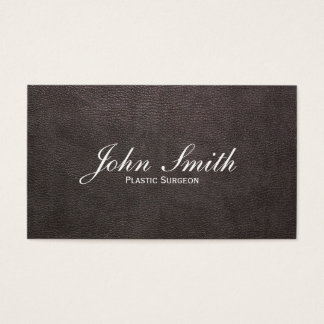 Dark Leather Plastic Surgeon Business Card