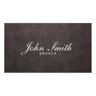 Dark Leather Real Estate Broker Business Card