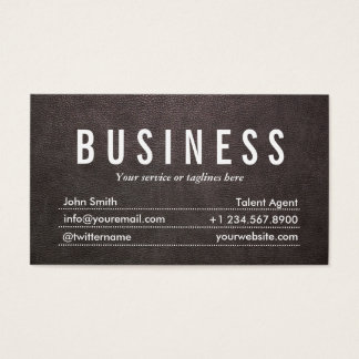 Dark Leather Talent Agent Business Card