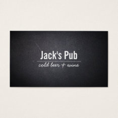 Dark Leather Texture Beer Bar/pub Business Card at Zazzle