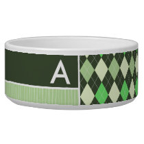 Dark & Light Green Argyle Pattern Bowl