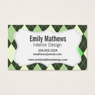 Dark & Light Green Argyle Pattern Business Card