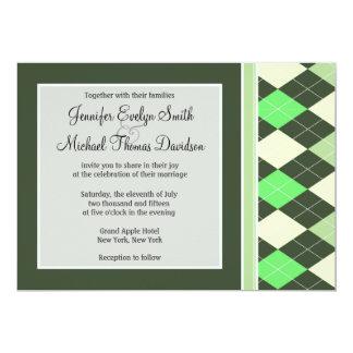 "Dark & Light Green Argyle Pattern 5"" X 7"" Invitation Card"