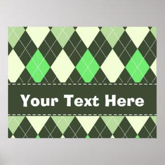 Dark & Light Green Argyle Pattern Print
