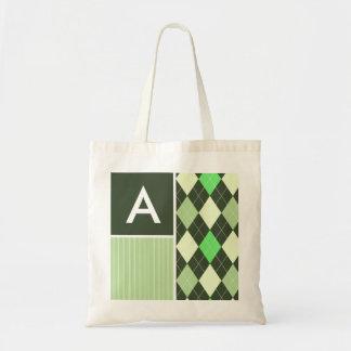 Dark & Light Green Argyle Pattern Tote Bag
