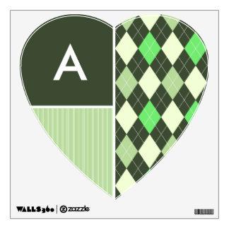 Dark & Light Green Argyle Pattern Wall Graphics