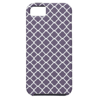 Dark Lilac And White Quatrefoil. Moroccan Pattern iPhone SE/5/5s Case