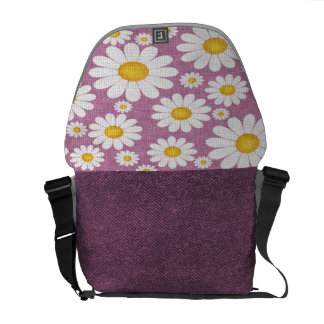Dark Lilac Chamomile Messenger Bag