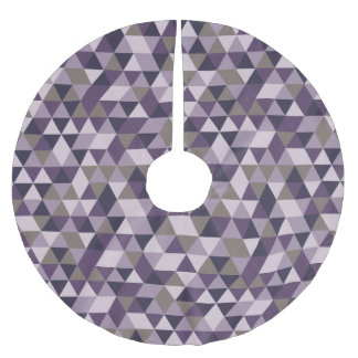 Dark Lilac Triangles - Modern Abstract Pattern Brushed Polyester Tree Skirt
