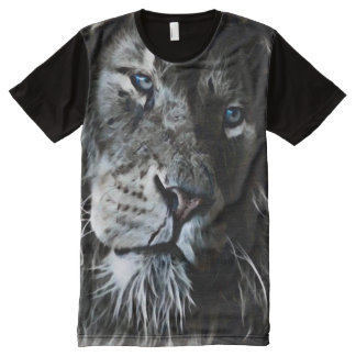 Dark Lion Face Fantasy Airbrush Art All-Over-Print Shirt