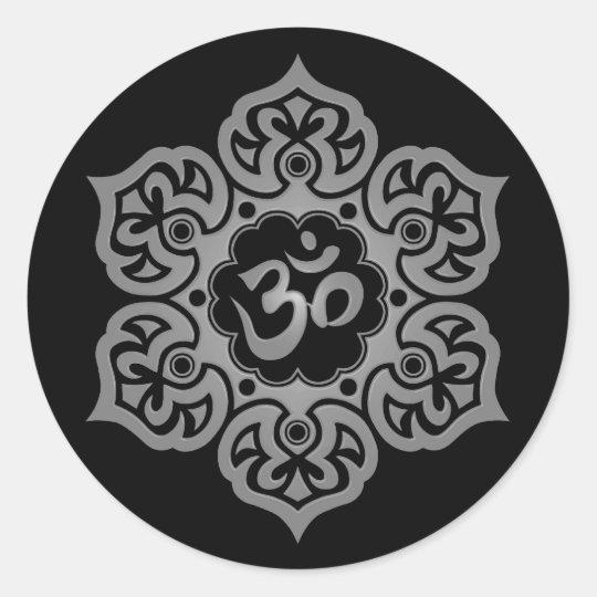 Dark Lotus Flower Om Classic Round Sticker