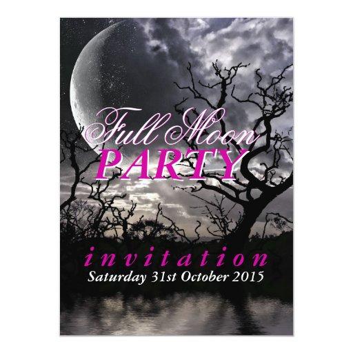 Dark Lunar Full Moon Party Invitations