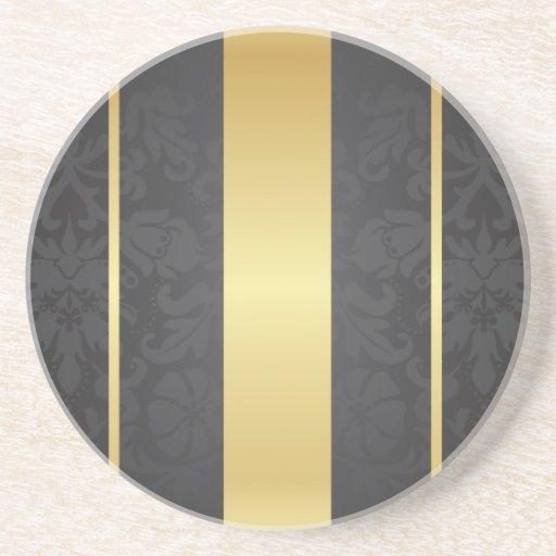 Dark Luxury Floral Damask With Golden Stripes Beverage Coasters