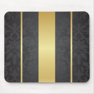Dark Luxury Floral Damask With Golden Stripes Mouse Pad