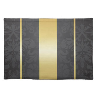Dark Luxury Floral Damask With Golden Stripes Place Mat