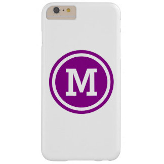 Dark Magenta and White Circle Monogram Barely There iPhone 6 Plus Case