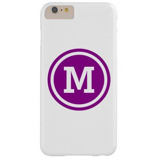 Dark Magenta and White Circle Monogram Barely There iPhone 6 Plus Case