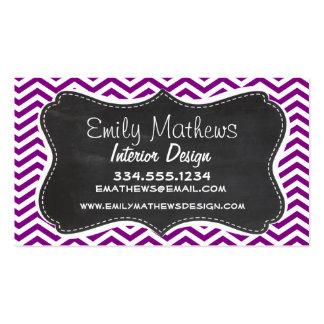 Dark Magenta Chevron; Retro Chalkboard Business Cards