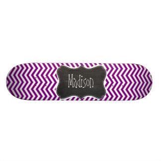 Dark Magenta Chevron; Retro Chalkboard Custom Skateboard