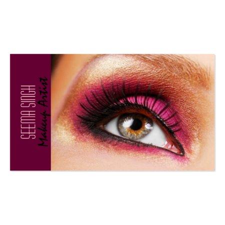 Beautiful Dark Magenta Eye Makeup Artist or Cosmetologist Business Cards