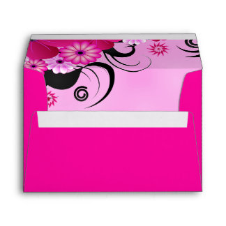 Dark Magenta Fuchsia Floral Wedding Envelopes