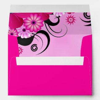 Dark Magenta Fuchsia Floral Wedding Envelopes