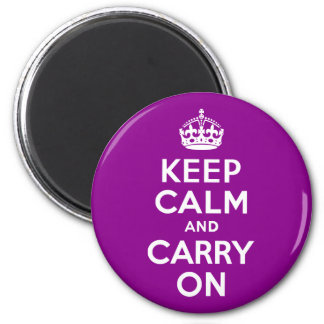 Dark Magenta Keep Calm and Carry On 2 Inch Round Magnet