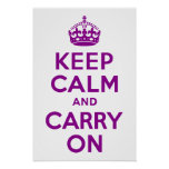 Dark Magenta Keep Calm and Carry On Posters