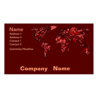Dark maroon earth map business card templates