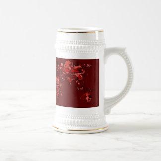 Dark maroon earth map coffee mugs