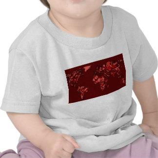 Dark maroon earth map tee shirt