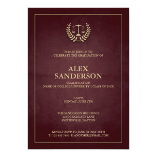 Dark Maroon+Gold Law School/Legal Graduation Card