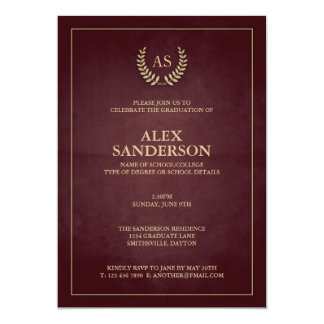 Dark Maroon+Gold Monogram/Laurel Wreath Graduation Card