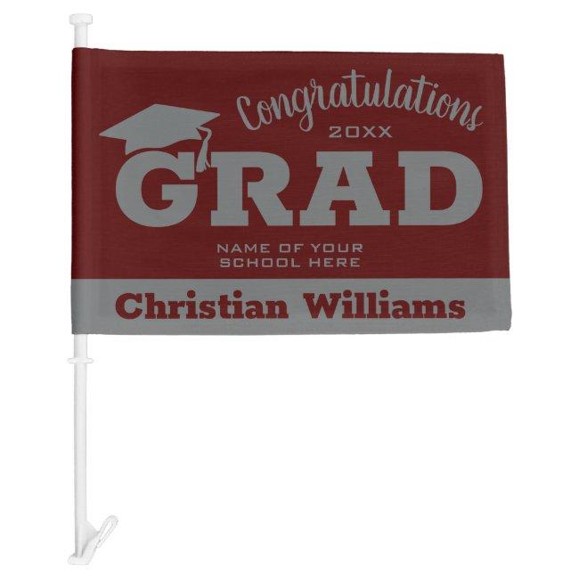 Dark Maroon Gray Graduation Car Flag