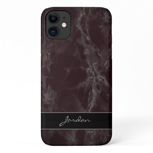 Dark Maroon Polished Marble Stone with Name iPhone 11 Case