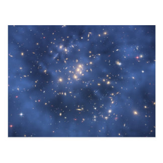 Dark Matter Ring and Galaxy Cluster in Cobalt Blue Postcard