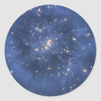 Dark Matter Ring and Galaxy Cluster in Cobalt Blue Round Stickers