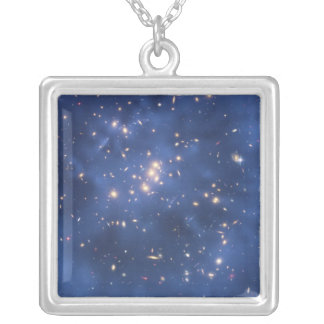 Dark Matter Ring in a Galaxy Cluster Silver Plated Necklace