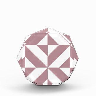 Dark Mauve Geometric Deco Cube Pattern Acrylic Award