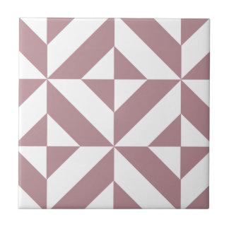 Dark Mauve Geometric Deco Cube Pattern Ceramic Tile