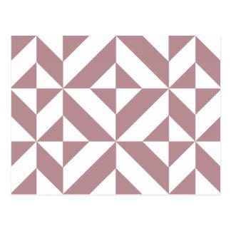 Dark Mauve Geometric Deco Cube Pattern Postcard
